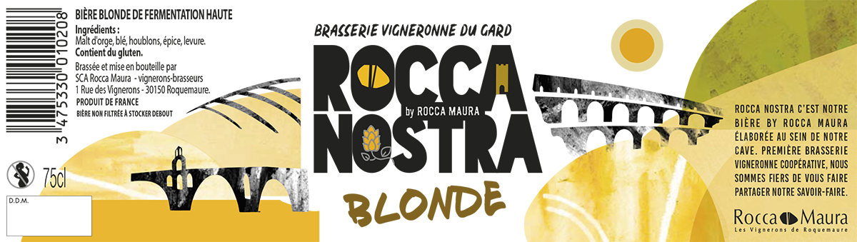 Etiquette bière blonde Rocca Nostra 75 cL