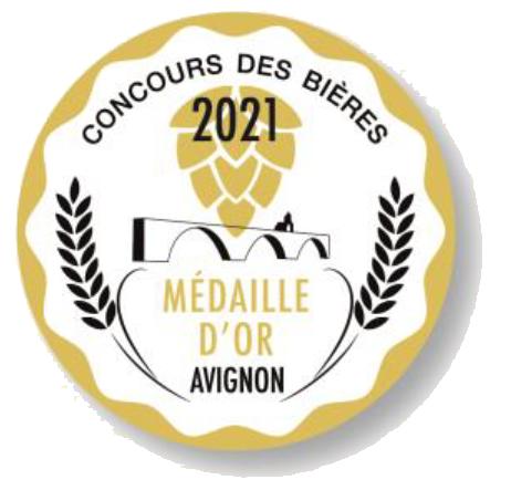 Médaille d'or au concours des bières à Avignon en 2021